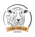 lamb head silhouette emblem label vector image vector image