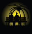 man silhouette sitting on bench vector image vector image