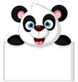 panda cartoon holding blank sign vector image vector image