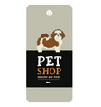 poster pet shop design label shih tzu geometric vector image vector image