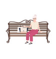 pretty old lady or grandmother sitting on street vector image vector image