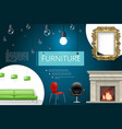 realistic house interior elements composition vector image