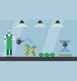 robot and drone are watering vegetables vector image vector image