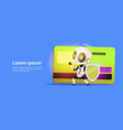 robot standing over credit card hold firewall vector image
