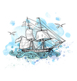 Sailing vessel and blue watercolor blots vector image vector image
