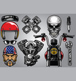 set of high detailed motorcycle element vector image vector image