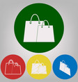 shopping bags sign 4 white styles of icon vector image vector image
