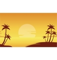 Silhouette of beach and palm trees vector image vector image