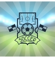 Sports label with soccer symbols vector image vector image