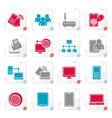stylized communication and technology equipment ic vector image vector image