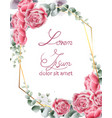 wedding card with rose flowers vintage vector image vector image