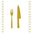 Yellow chef knife and fork crossed in vector image vector image