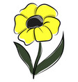 yellow flower on white background vector image vector image