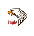 Eagle or hawk head mascot with screaming bird vector image