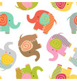 seamless pattern with baby elephant vector image