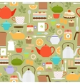Tea pattern with teapots and cups vector image