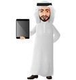 arab businessman holding a tablet vector image vector image