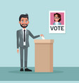 background scene man in formal suit vote for vector image vector image