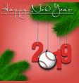 baseball ball and 2019 on a christmas tree branch vector image