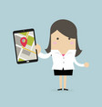businesswoman holding tablet with navigation map vector image