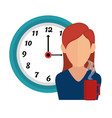 businesswoman with watch avatar icon vector image vector image