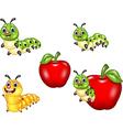 Cartoon funny Caterpillar collection set vector image