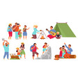 cartoon hiking characters travelling people vector image vector image