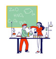 children characters study chemistry in classroom vector image