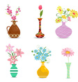 collection decorative vases with flowers for your vector image