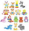 collection of amusing colorful toy animals vector image