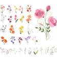 Collection of different stylized flowers vector image vector image