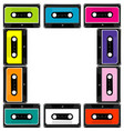 colorful frame with audio cassettes vector image