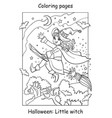 coloring halloween flying little witch on broom vector image vector image