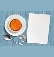 cup tea with lemon and a white blank sheet vector image vector image