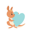 cute baby kangaroo sitting and holding light blue vector image