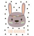 cute cartoon tribal rabbit card vector image vector image