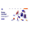 data center isometric landing page engineer works vector image