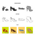 design of footwear and woman symbol set of vector image vector image