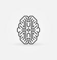 digital brain outline icon cyberbrain vector image vector image