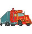 drawn colored truck vector image vector image
