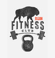 fitness club typographic vintage grunge poster vector image