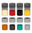 flat set of kitchen spices in the package vector image vector image