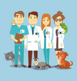 flat veterinarians staff with cute animals vector image vector image