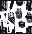 food the cutting boards muffins seamless pattern vector image