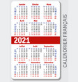 french calendar grid for 2021 vector image vector image