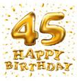 golden number 45 forty five metallic balloon vector image vector image