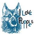 i love puppies 2 vector image vector image