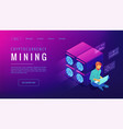 isometric cryptocurrency mining landing page vector image vector image