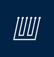 letter w font maze italic geometric vector image