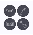 Medical mask contraception and pipette icons vector image